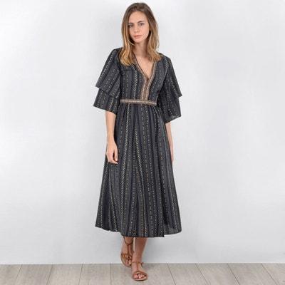 Folk Print Midi Dress with Ruffled Sleeves Folk Print Midi Dress with Ruffled Sleeves MOLLY BRACKEN