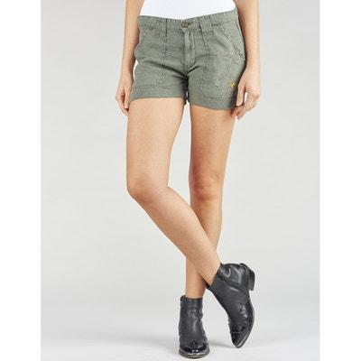 Shorts in puro lino, tasca con ricamo di stelle Shorts in puro lino, tasca con ricamo di stelle LE TEMPS DES CERISES
