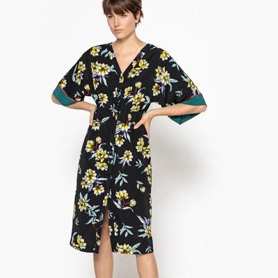 Vestido kimono con estampado de flores, abotonado Vestido kimono con estampado de flores, abotonado La Redoute Collections