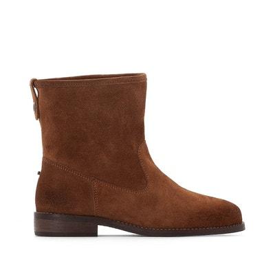 Boots croûte de cuir, petit talon 2 cm Boots croûte de cuir, petit talon 2 cm La Redoute Collections