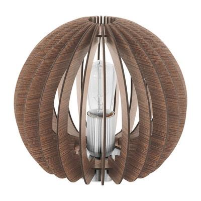 Lampe boule ajourée COSSANO bois clair en métal KERIA