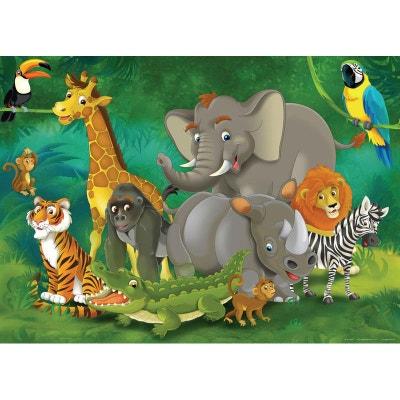 Jungle animals. photo murale, 160 x 115 cm, 1 part WALLTASTIC