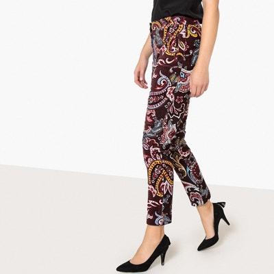 Spodnie cygaretki z nadrukiem z gładkiego weluru Spodnie cygaretki z nadrukiem z gładkiego weluru La Redoute Collections