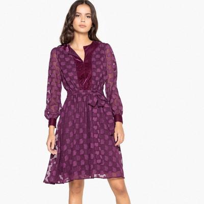 Платье расклешенное с вышивкой гладью и велюровой вставкой Платье расклешенное с вышивкой гладью и велюровой вставкой La Redoute Collections