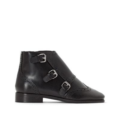 Boots en cuir triple boucles à bout fleuri Boots en cuir triple boucles à bout fleuri La Redoute Collections
