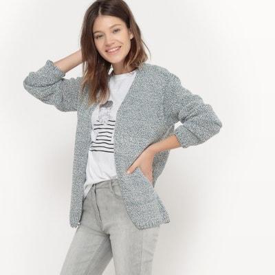 Niezapinany sweter z długim rękawem i dzianiny mulinowej La Redoute Collections