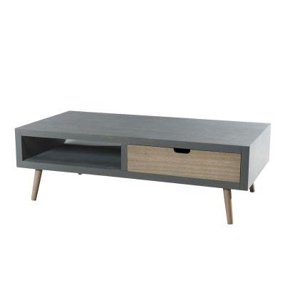 table basse en bois couleur gris bton 2 tiroirs couleur naturelle 1 niche 120x60x39cm