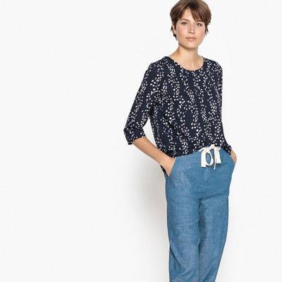 Geblümte Bluse mit rundem Ausschnitt und 3/4-Ärmeln Geblümte Bluse mit rundem Ausschnitt und 3/4-Ärmeln ONLY