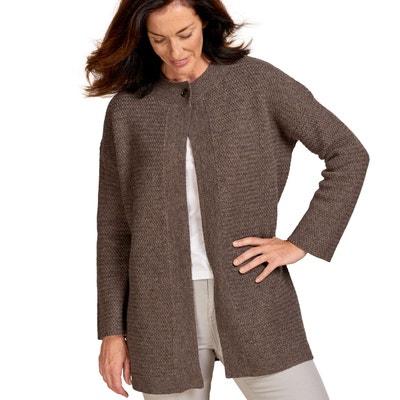 866e56f751c3 Manteau cardigan à point de panier laine d agneau Manteau cardigan à point  de panier