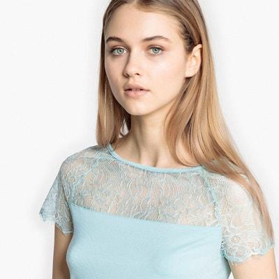 T-shirt plastron dentelle col rond manches courtes La Redoute Collections