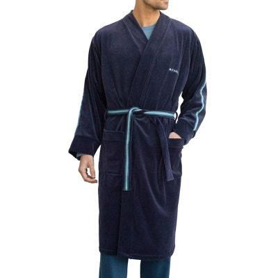Robe de chambre   Grand Froid en velours   marine ATHENA