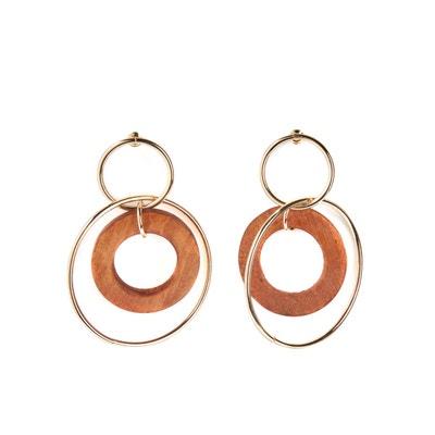 Boucles d'oreilles créoles bois et métal Boucles d'oreilles créoles bois et métal LA REDOUTE COLLECTIONS