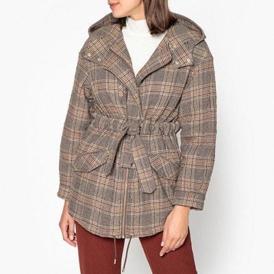 Manteau à capuche, motifs carreaux COX Manteau à capuche, motifs carreaux COX BA&SH