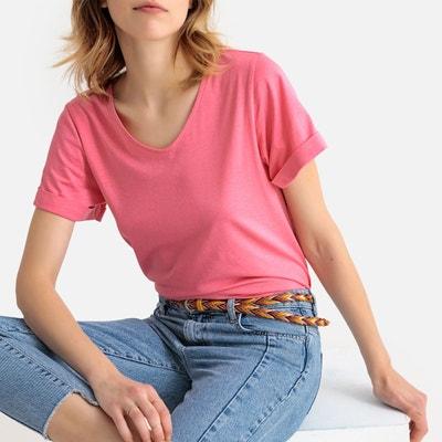 T-shirt en coton bio col V T-shirt en coton bio col V. Nouveauté. LA REDOUTE  COLLECTIONS 97265d17d994