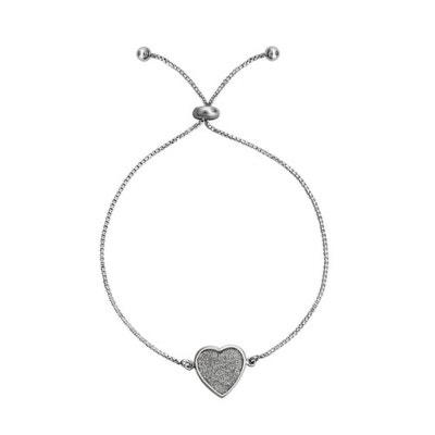 Bracelet Boule Chaîne Coulissant Longueur Réglable  14 à 24 cm Coeur Rempli  Rhodium Argent 925. SO CHIC BIJOUX 0621bfb622a4