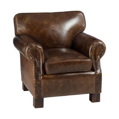 Club fauteuil cuir marron