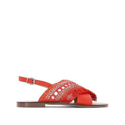 Sandálias em pele, detalhe com franjas La Redoute Collections