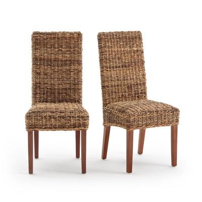 Cadeiras em abacá com encosto alto, BANGOR (lote de 2) La Redoute Interieurs