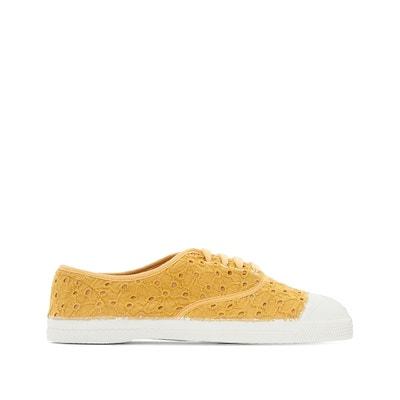 Sneakers met veters en Engelse kant BENSIMON