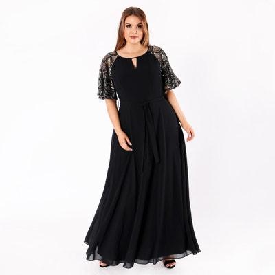 Платье длинное с расклешёнными рукавами и украшениями золотого цвета Платье длинное с расклешёнными рукавами и украшениями золотого цвета LOVEDROBE