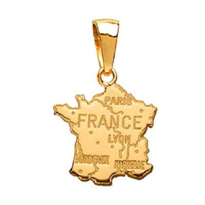 Pendentif Carte France Plaqué Or 750 SO CHIC BIJOUX