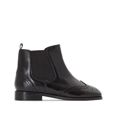 Boots en cuir, bout fleuri, côté élastiqué La Redoute Collections