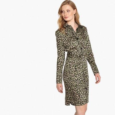 Robe chemise imprimée léopard, avec ceinture La Redoute Collections