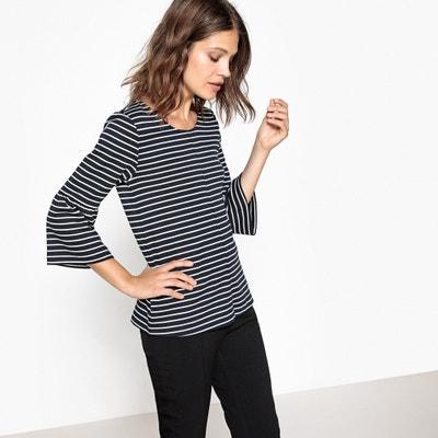 Striped Peplum Sleeve T-Shirt VILA