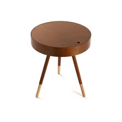 Table Basse Design Ronde d'Appoint en Bois d'Hévéa Finition Noyer Table Basse Design Ronde d'Appoint en Bois d'Hévéa Finition Noyer VERSA