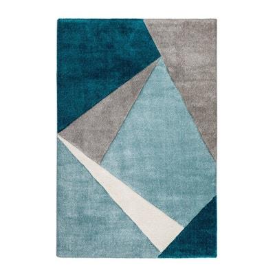 tapis gomtrique pour salon bleu ocan moderne viki deladeco - Tapis De Salon Bleu