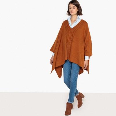 Poncho con trenzados, lana Poncho con trenzados, lana La Redoute Collections
