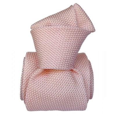 Cravate grenadine de soie, Segni & Disegni, Lucia rose SEGNI ET DISEGNI