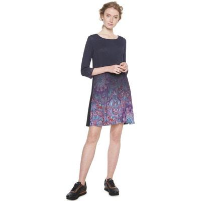 Robe patineuse imprimé floral, courte, manches 3 4 DESIGUAL aeac9f59afb3