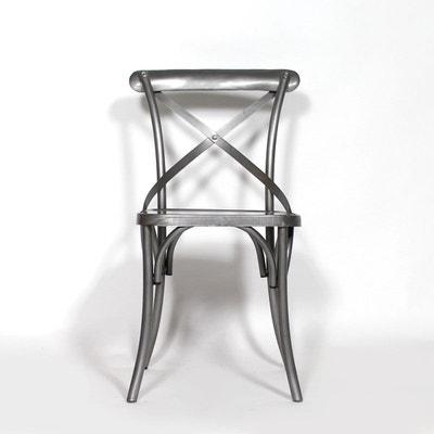 Chaise industrielle dossier croisé 100% métal gris  |  B20 Chaise industrielle dossier croisé 100% métal gris  |  B20 MADE IN MEUBLES