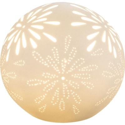 Lampe boule SUBARA blanche en porcelaine KERIA
