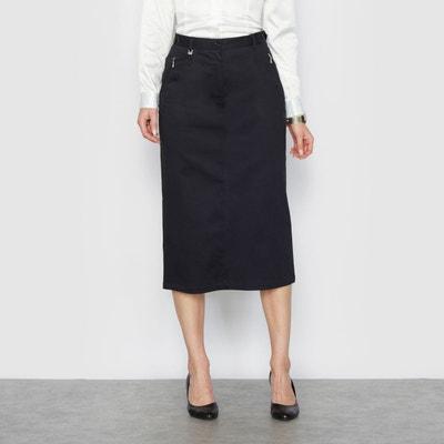Jupe, satin de coton stretch, long. 75 cm Jupe, satin de coton stretch, long. 75 cm ANNE WEYBURN