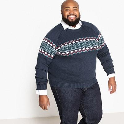 Plus Size Jacquard Chunky Knit Crew Neck Jumper/Sweater Plus Size Jacquard Chunky Knit Crew Neck Jumper/Sweater CASTALUNA FOR MEN