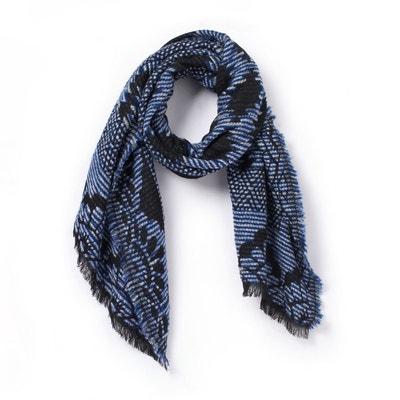 Col rayé   violet et blanc écharpe col crochet   crochet violet et blanc  écharpe hiver écharpes   fcde5eec3017