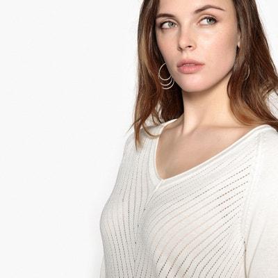Trui in fantasie tricot met V-hals ANNE WEYBURN