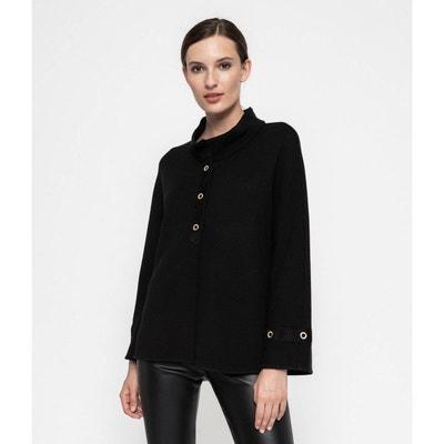 Veste kimono courte noire tricotée en France Veste kimono courte noire tricotée en France DEVERNOIS