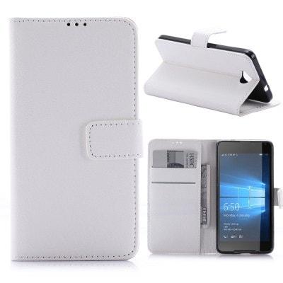 Etui Microsoft Lumia 650 Porte Cartes Uni Blanc