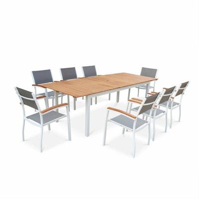 Salon de jardin aluminium et bois composite en solde | La Redoute