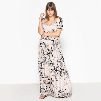 Straight Floral Print Maxi Dress with Short Sleeves CASTALUNA