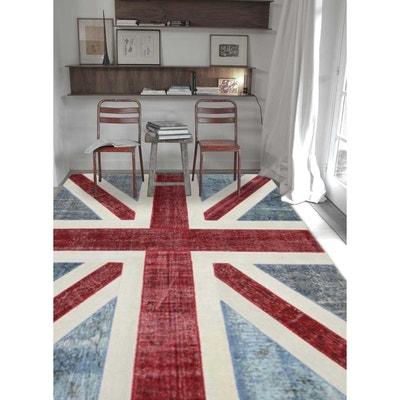 tapis de salon moderne design fm union jack patchwork bleu laine un amour de tapis - Tapis De Salon Bleu