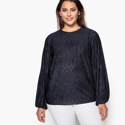 Bluse mit langen Puffärmeln, plissiert, runder Ausschnitt Bluse mit langen Puffärmeln, plissiert, runder Ausschnitt CASTALUNA