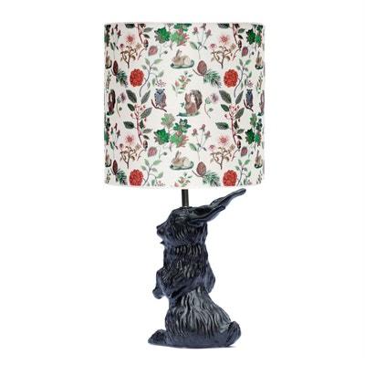 JEANNOT LAPIN - Lampe à poser Céramique Noir et abat-jour Tissu Automne H60cm DOMESTIC