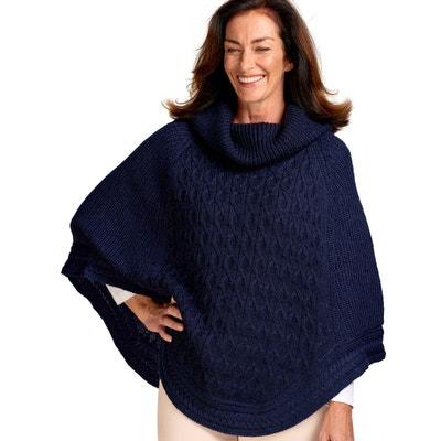 Poncho texturé à col roulé pure laine Poncho texturé à col roulé pure laine WOOLOVERS