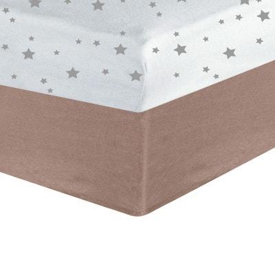 Drap housse bébé - taupe + imprimé étoiles (lot de 2) LES KINOUSSES