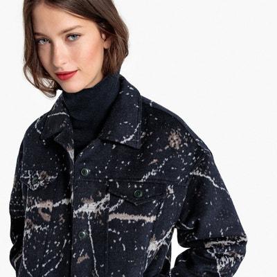 Bedrukte jas in gemengd wol Bedrukte jas in gemengd wol La Redoute Collections