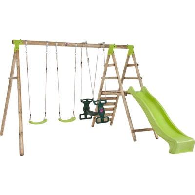 Plateforme de jeux avec agrès - toboggan et mur d'escalade Plateforme de jeux avec agrès - toboggan et mur d'escalade PLUM
